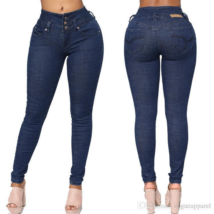 35e15f1a Compre Mujeres Bonitas Ropa Nueva Gran Cadera Pantalones Vaqueros  Atractivos Azul Oscuro Botones De Cintura Alta Pantalones Vintage Flacos A  $39.48 Del ...