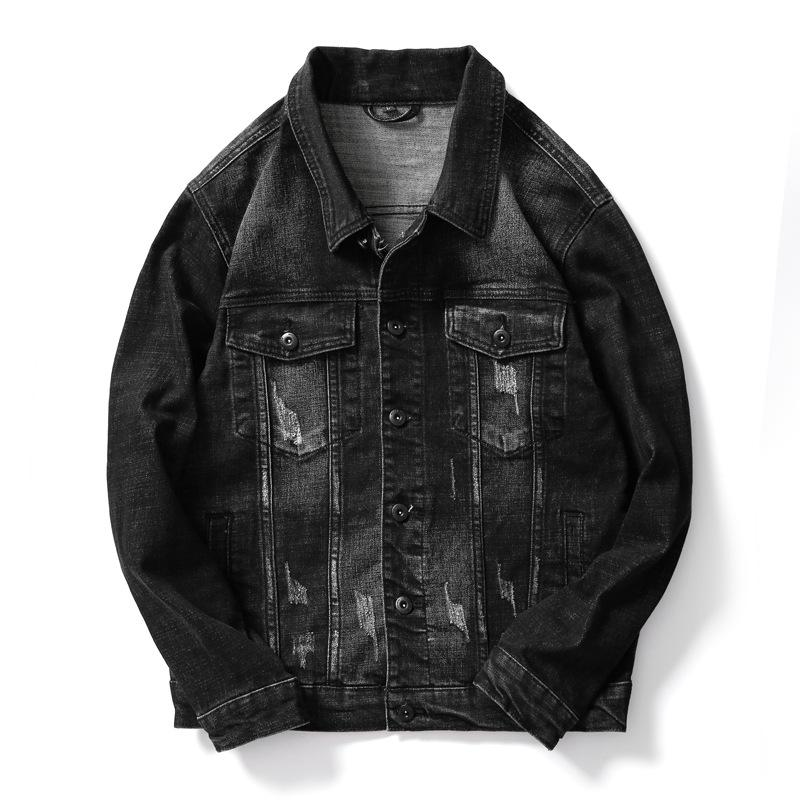 Spring Denim Jacket Mens Windbreaker Black Biker Motorcycle Jackets Autumn Coats Korean Tops Slim Fit Male Clothing High Quality