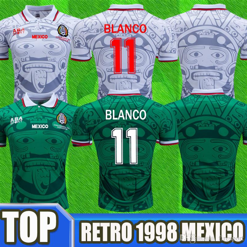645f5197f37 2019 Thailand Quality 1998 Mexico World Cup Soccer Jerseys Classic Vintage  Retro Version Jersey Home Green HERNANDEZ BLANCO 11# Football Shirts From  ...