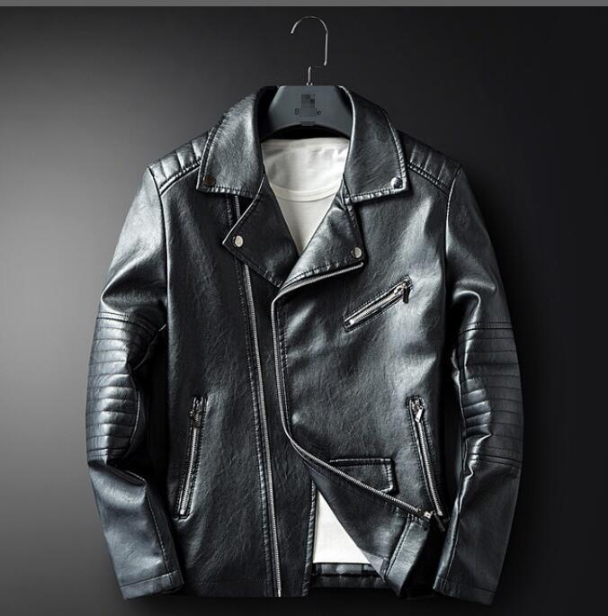 c0ec3e68c M-XXXL New 2019 punk men's leather jackets European and American men's  personality motorcycle Slim leather jacket plus size