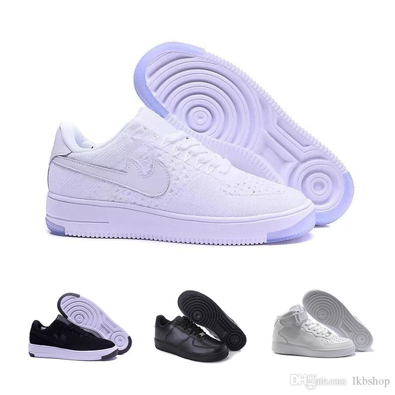 nike air force 1 Marken Rabatt für Herren und Damen Flyline Laufschuhe, Skateboard Schuhe 1 Paar High Low Cut Schwarz Weiß Outdoor High Low Sneaker