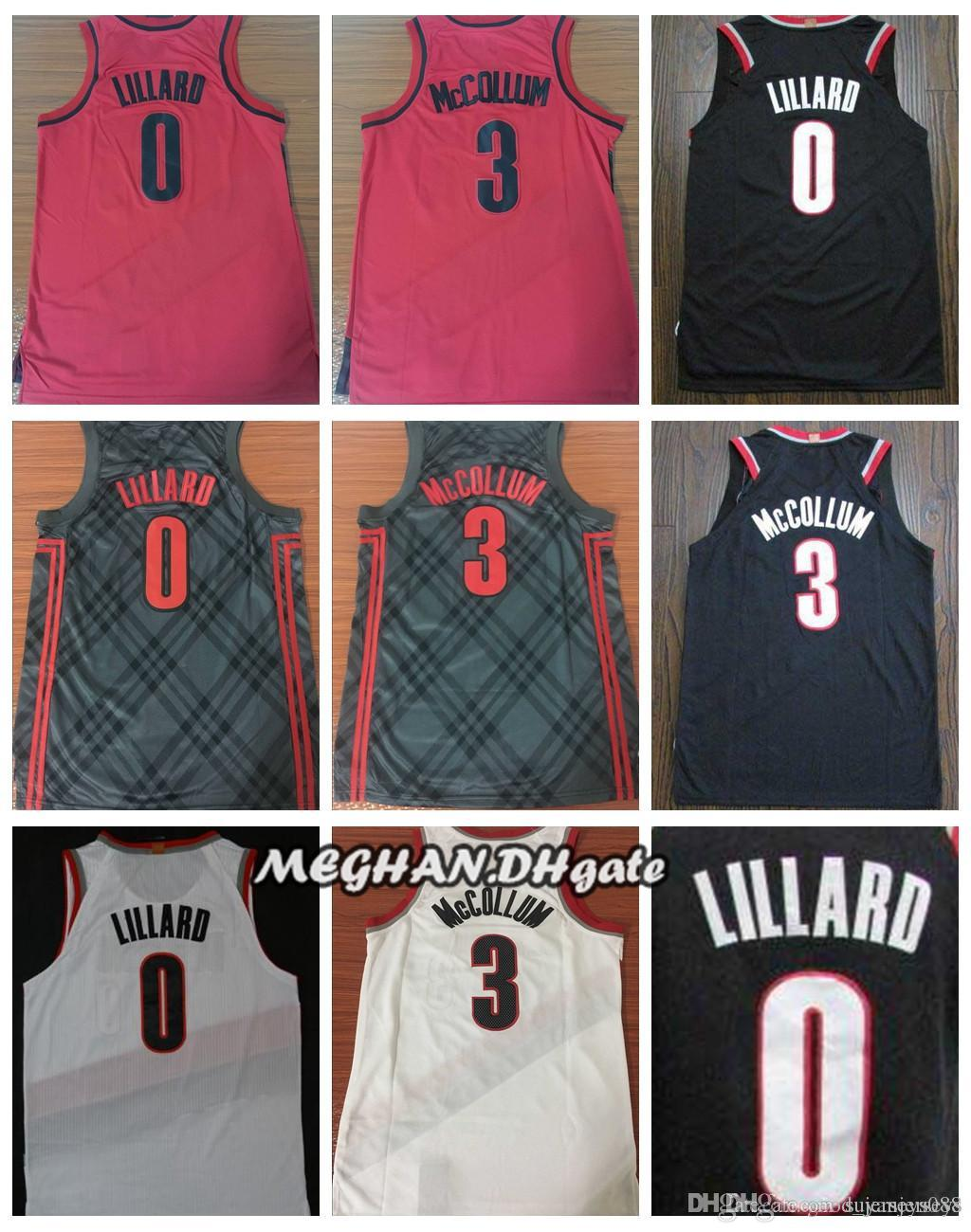 28f5ab863 2019 2018 Men  0 Damian City Jerseys Lillard Embroidery Splice Cheap 3  CJ  McCollum All Stitched RipCity Lillard Basketball Jersey Suture From ...