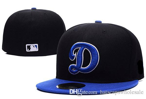 33742b8d621 High Quality LA On Field Style Baseball Fitted Hats Sport Big D Letter Team  Logo Embroidery Full Closed Caps Out Door Fashion Bones Army Hats Custom  Caps ...