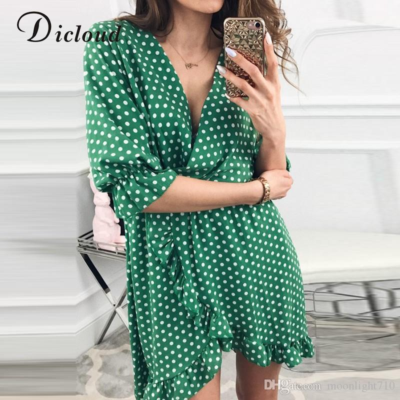 f037cdc5c4c1 Short Women Dress Ruffles Print Polka Dot Sexy Bodycon Beach Female Half  Sleeve Summer Party Mini Dresses Vestidos Women Dress Online with  $26.95/Piece on ...