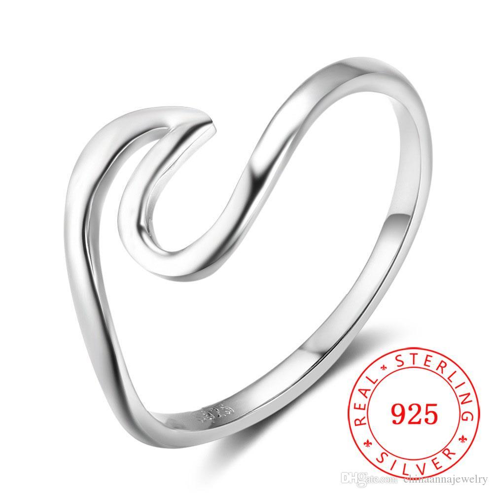 51bc9fdee Compre 2018 Moda De Alta Qualidade Mulheres Menina Acessórios Jóias  Batimento Cardíaco Onda Real 925 Anel De Dedo De Prata Esterlina De  Chinaannajewelry, ...