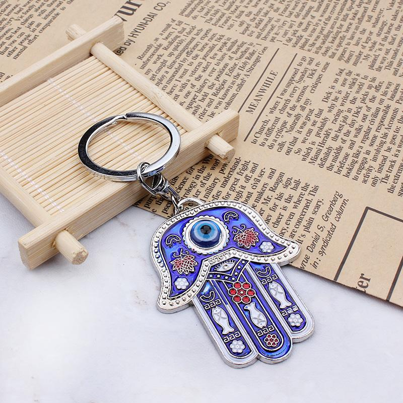 Lucky Eye Blue Beads Keychain Round Bead Tassel Evil Eye Keychains For Woman Man Jewelry Car Key Chain Se105 Key Chains