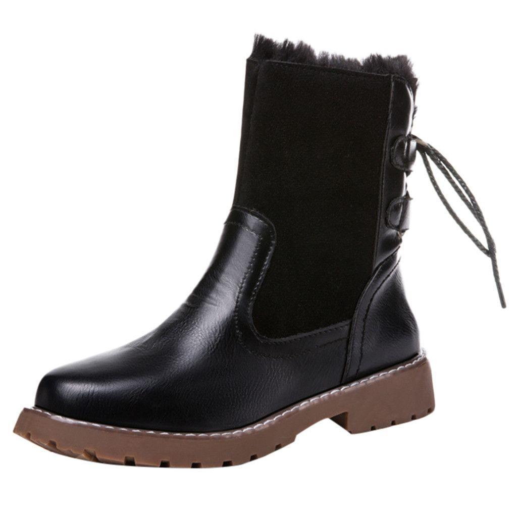 c187b1a68 Compre Xiniu Moda Feminina Botas De Inverno Botas De Neve 2018 Lazer Manter  Quente Rodada Toe Sapato De Salto Baixo Traseira Empate Mid Calf Sapatos  Botas ...