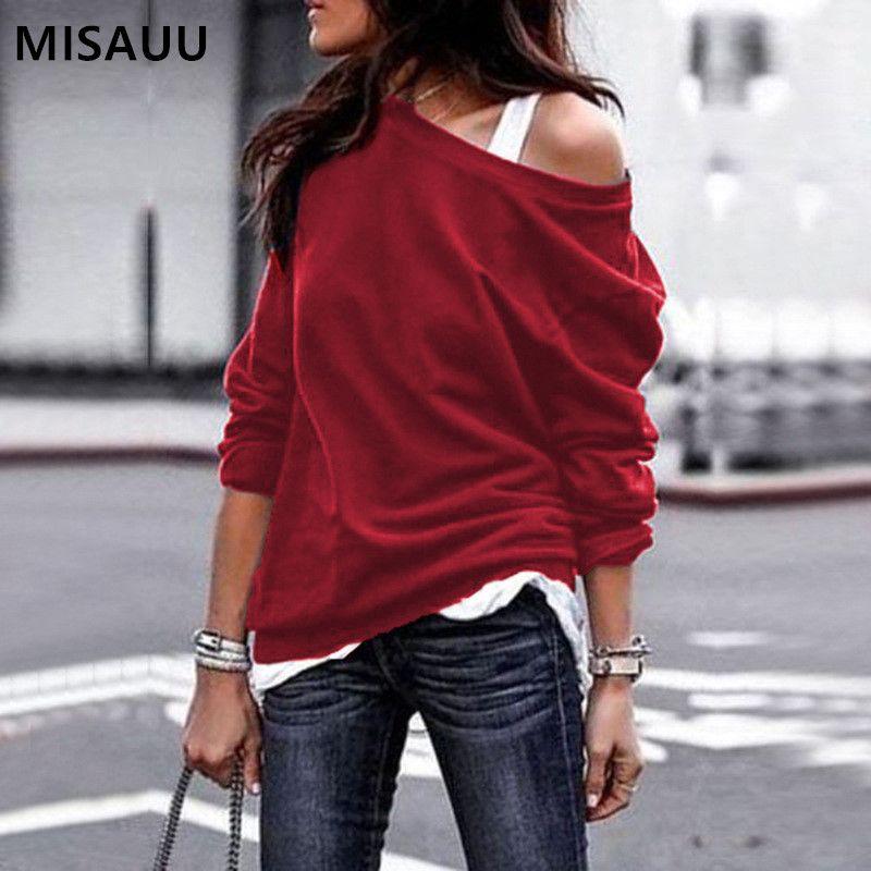 0b9ce86f3c4 2019 MISAUU Female Jumper Sweatshirt Sexy Off Shoulder Hoodies Top Autumn  Winter Crew Neck Pullovers Tracksuit Ladies Tops Plus Size From Hiem