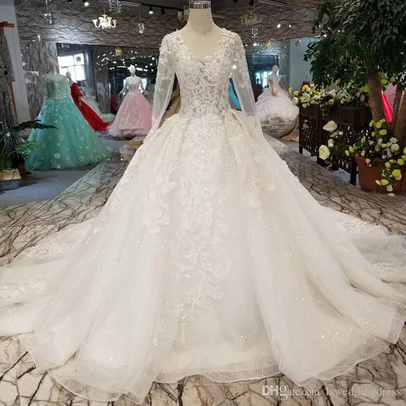 ca3f0987832 2019 Newest Design Like White Wedding Dresses Pure New Big Round Neck Long  Tulle Iliusion Sleeve Wedding Gown With Long Train Bridal Gown Cheap  Designer ...