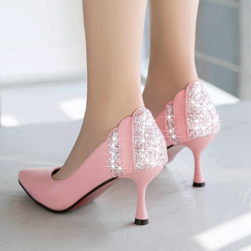 90fa32b5e9a Fashion Women High Heels Prom Wedding Shoes Lady Back Crystal Platforms  Glitter Rhinestone Bridal Shoes Thin Heel Party Pump Scholl Shoes Silver  High Heels ...