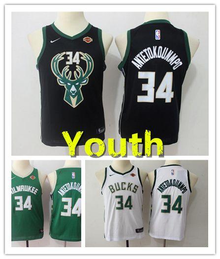 huge selection of c491f 95e0e 2019 New Youth 34 Antetokounmpo Milwaukee Buck Kids Basketball Jersey  Stitched Antetokounmpo Boys Basketball Shirts Green White Black