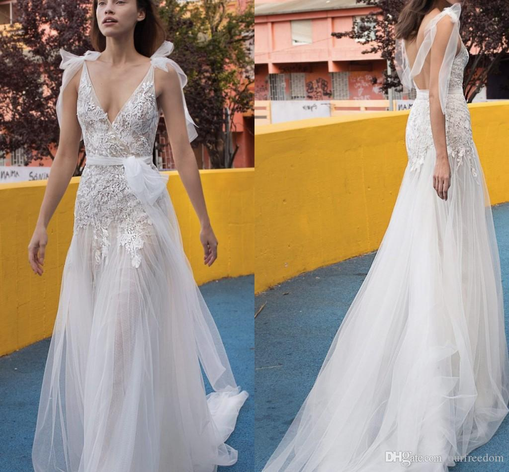 680cdaab3b Discount 2019 Liz Martinez Mermaid Wedding Dresses Plunge V Neck Lace  Appliques A Line Backless Sweep Train Beach Boho Wedding Dresses Bridal  Gowns Simple ...