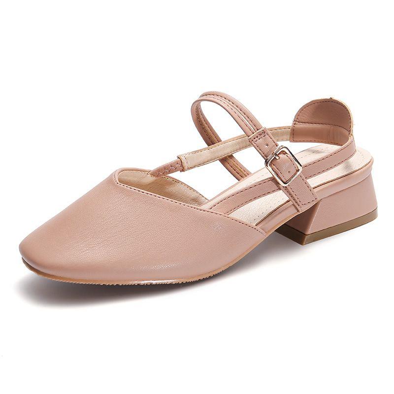 7c9300e8d3c7 Women Fashion Square Toe 4cm Chunky High Heel Mary Jane Sandals ...