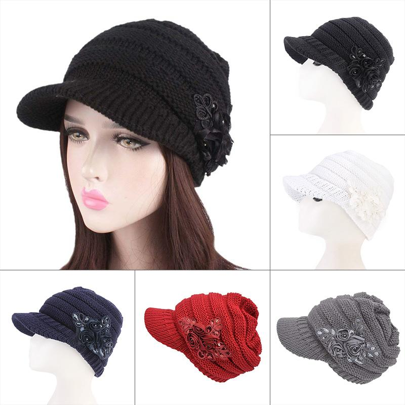 eed43bb9696a8 Women Winter Warm Crochet Peaked Beanie Cap Knitted Skull Cap Beret ...