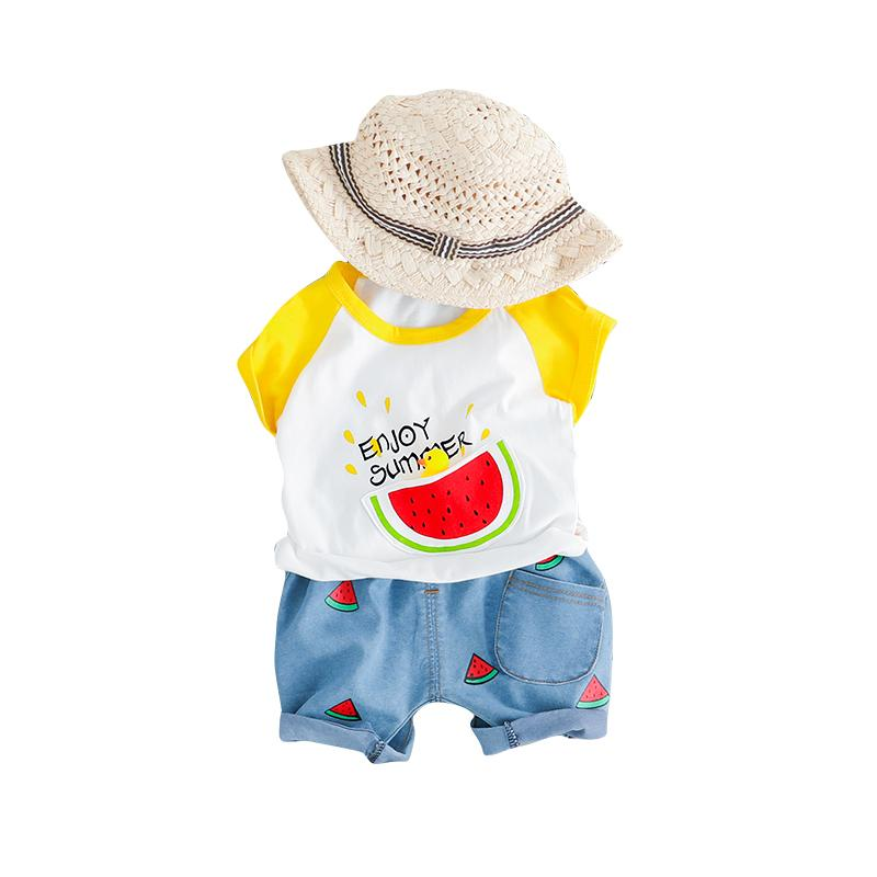 Baby Summer suit girl foreign gas short sleeve two pcs set boys 2 baby 4 clothes 0 children 1-3 years old children's clothing