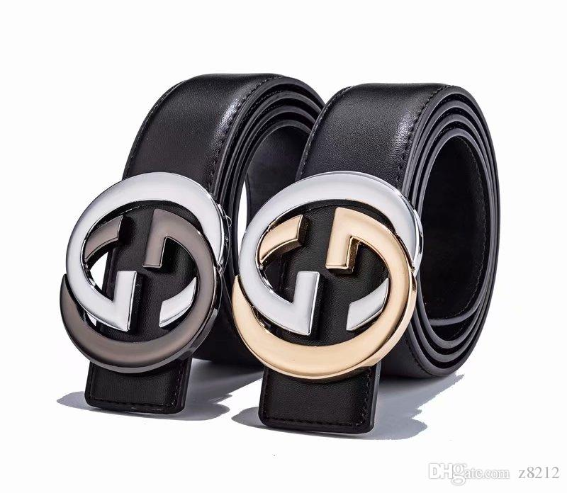 2018 men and women feel contracted damp leather have inner wear leather belt buckle hole smooth belt buckle color optional eyes