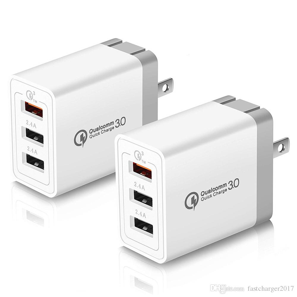 3 Usb Port QC3.0 US Wall Charger Power Adapter Fast Adaptive Adaptor For Samsung Htc