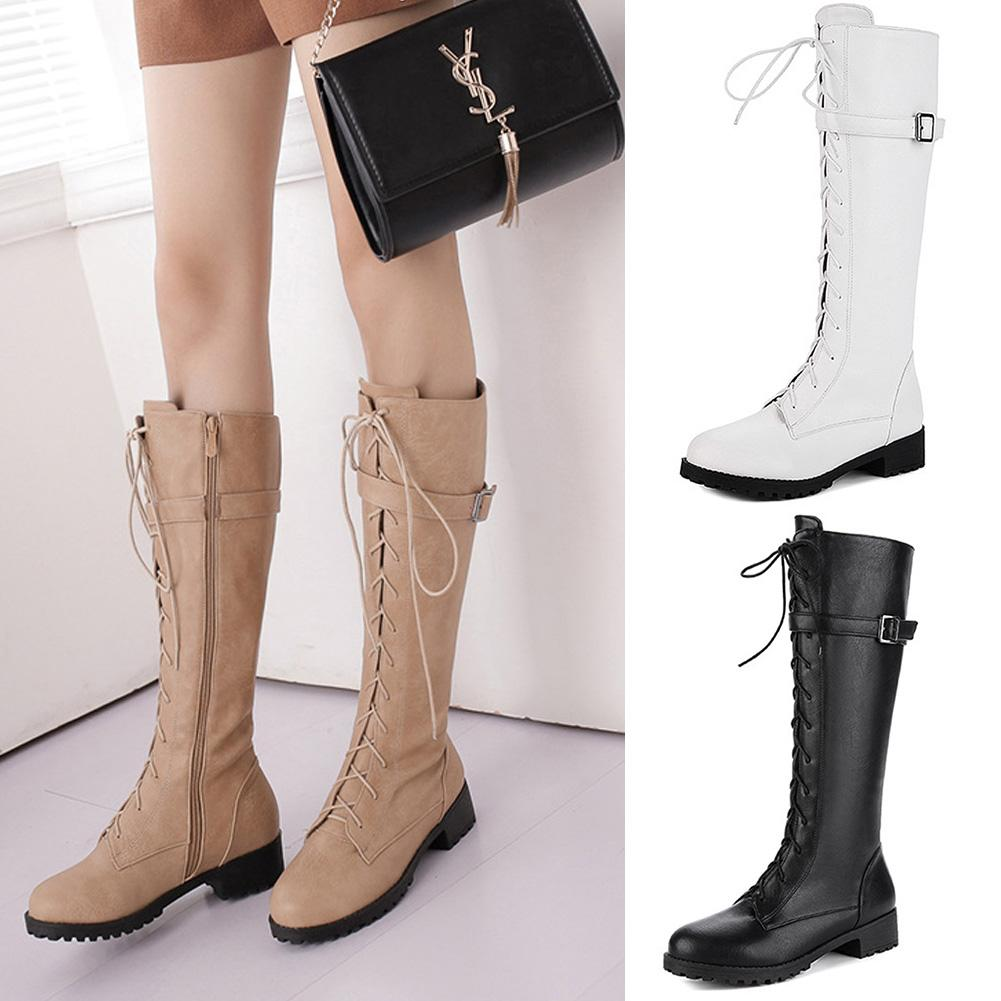 44f48879749fb Winter Women S PU Boots Plush Mid Calf Knight Motorcycle Boots Low Heels  Shoes Leather Buckle Front Lace Up Side Zip Botas Mujer Fur Boots Black  Knee High ...