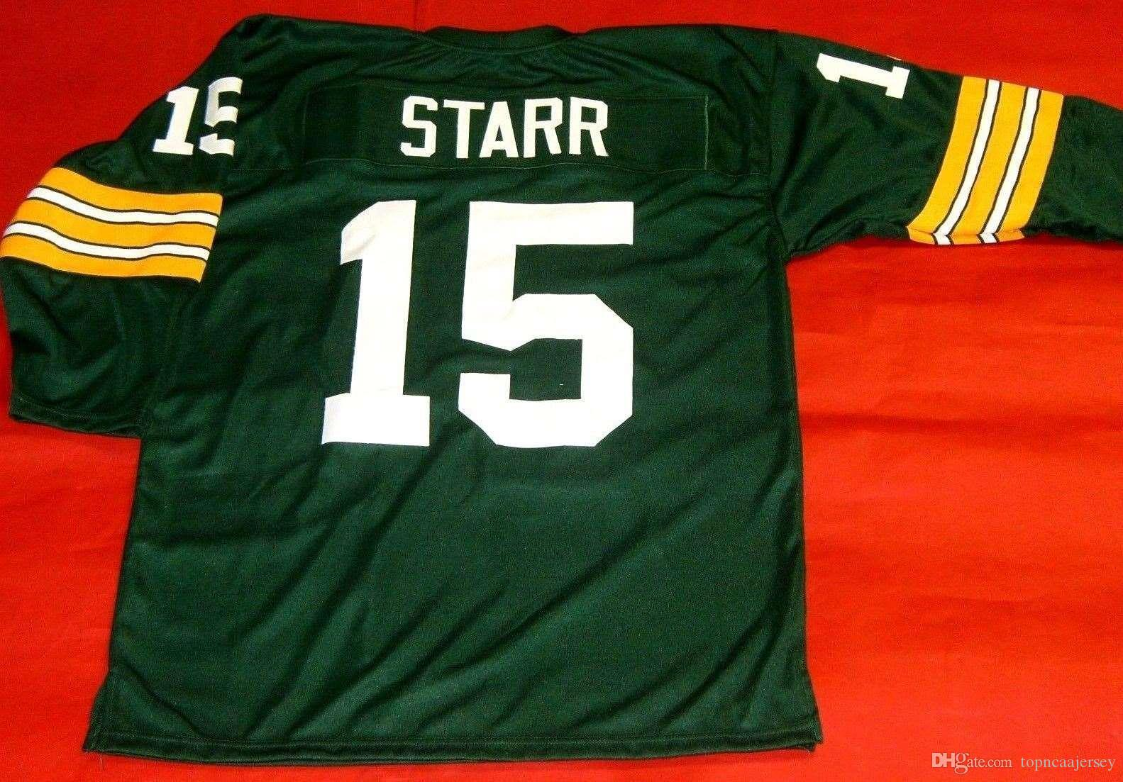 new arrival f6dad ef15d Cheap retro #15 BART STARR CUSTOM GREEN 3/4 SLEEVE MITCHELL & NESS Jersey  Mens Stitching High-end Size S-5XL Football Jerseys College NCAA