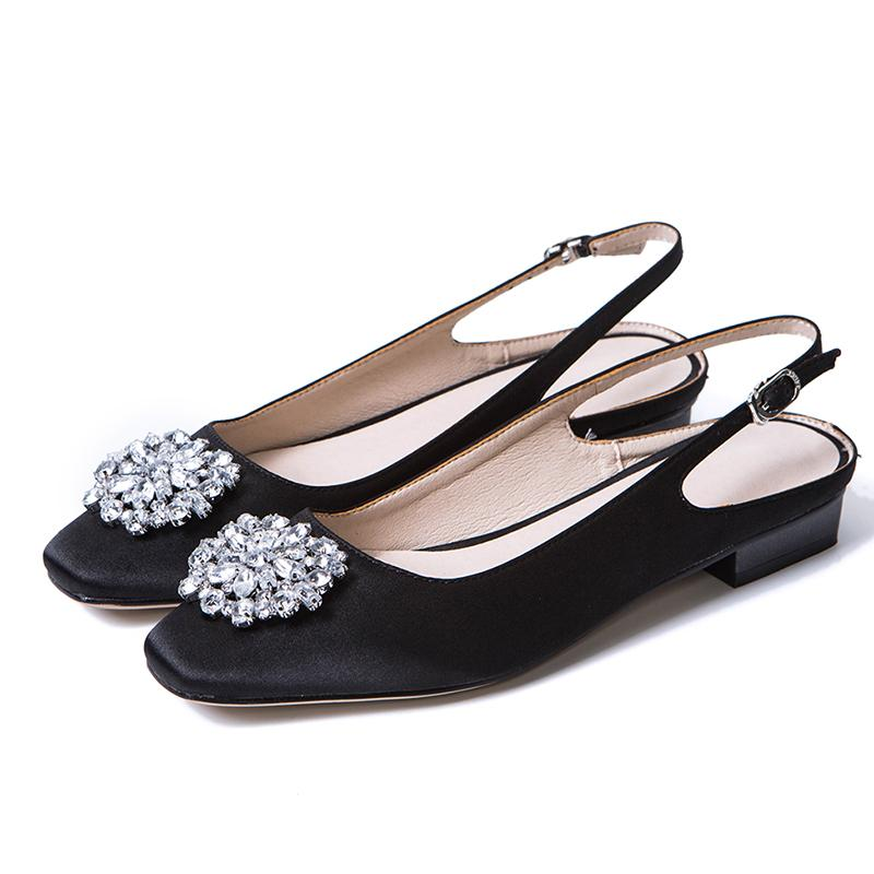 d5104abf502 JK Brand Women Pumps Satin Summer Buckle Slingback Shoes Handmade Women  Square Heels Low Crystal Silk Fabric Footwear Women 2019 Reef Sandals Gold  Shoes ...