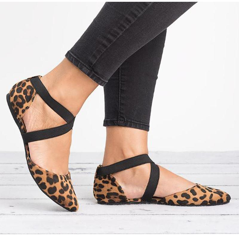 cd3481512d6a26 Women Flats Shoes Spring Summer Leopard Pointed Toe Casual Shoes Ladies  Fashion Cross Strap Comfortable Ballet Plus Size Walking Shoes Flat Shoes  From ...