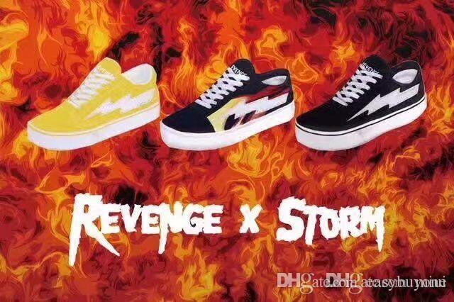 New Style Revenge X Storm Old Skool Skateboarding Shoes Women And Mens  Flame Fire Black Yellow White Causal 36-44