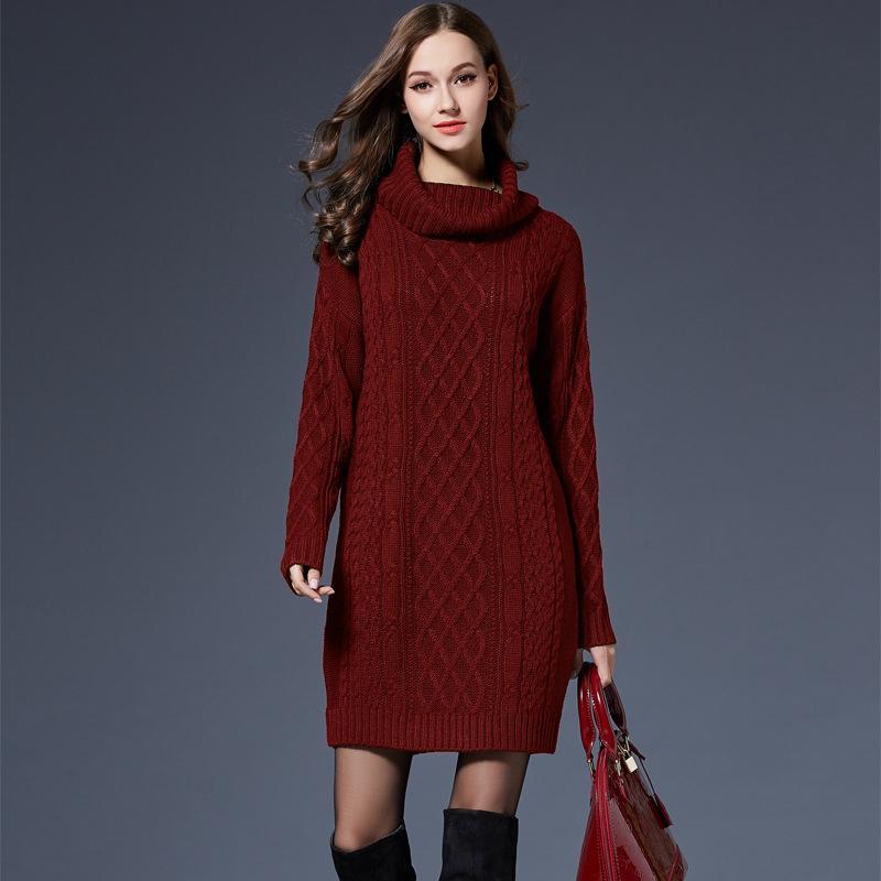 c429a5227696 2018 Mulheres Moda Gola Alta Camisola Vestidos Plus Size Casual Malha De  Algodão Outono Inverno Vestido Vestidos