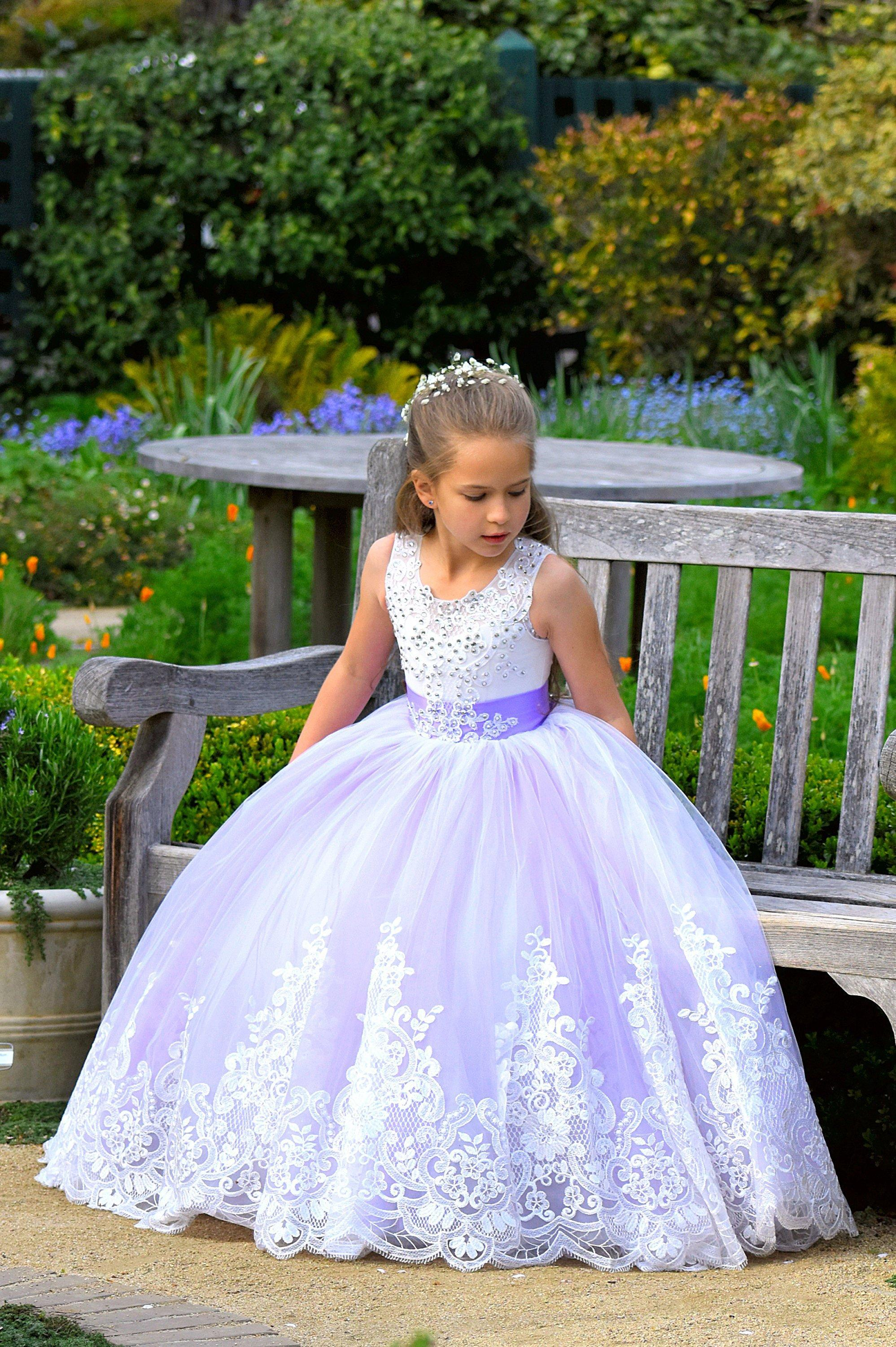 64bd51e3e9 Purple Flower Girl Dress Lavender Wedding Lace Little Girl Kids Holiday  Birthday Princess Purple Wedding Party Girls Dress Formal Occasion