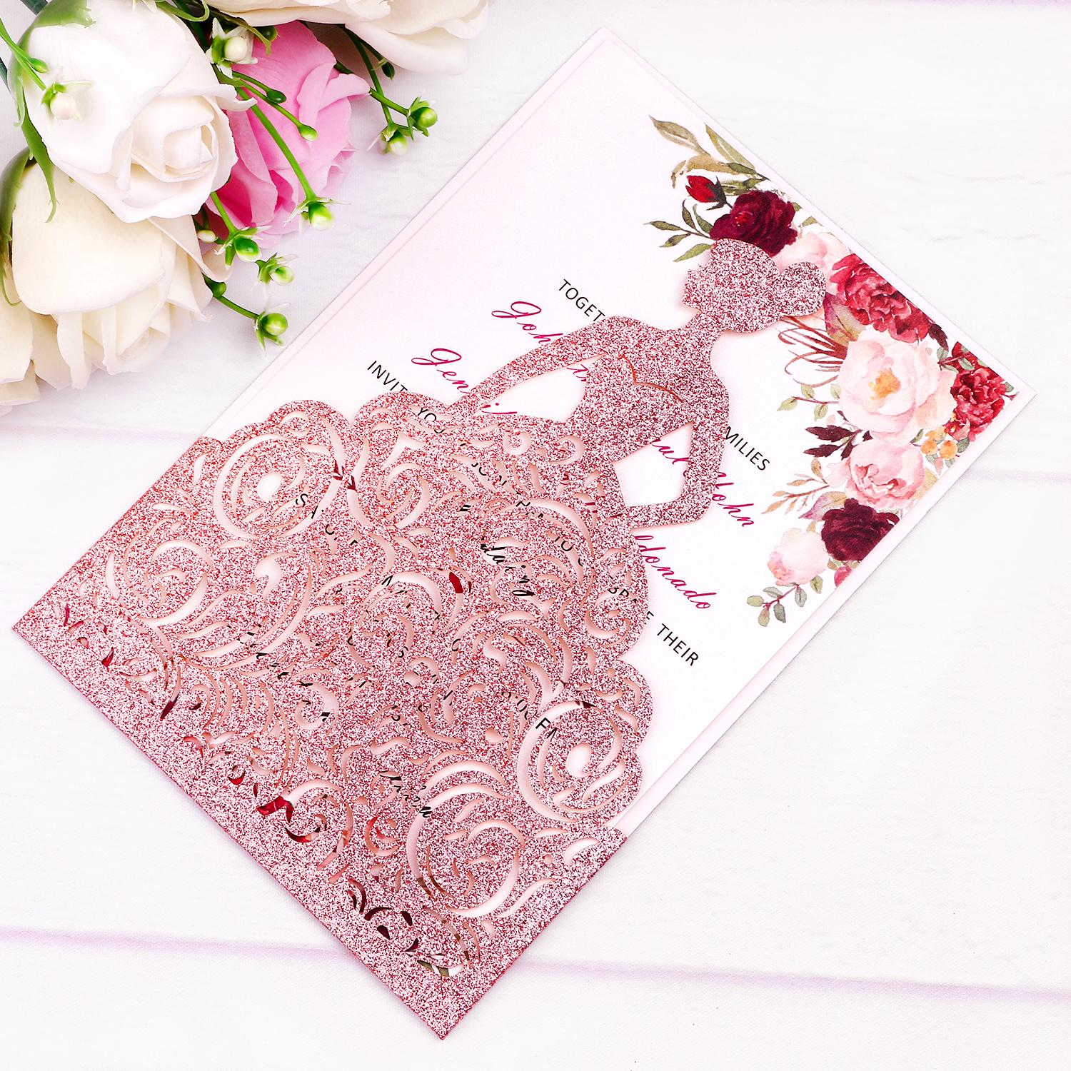 New Arrival Rose Gold Glitter Laser Cut Crown Princess Invitations Cards For Birthday Sweet 15 Quinceanera Sweet 16th Engagement Invites