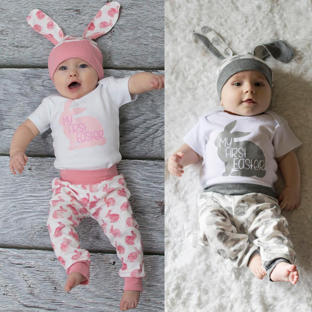 ebf099a248c8 2019 Perimedes Easter Day Baby Summer Clothes Set Newborn Baby Girl Boy  Cartoon First Easter 3D Bunny Outfits Romper Hat Pants Set From Jasmineer,  ...