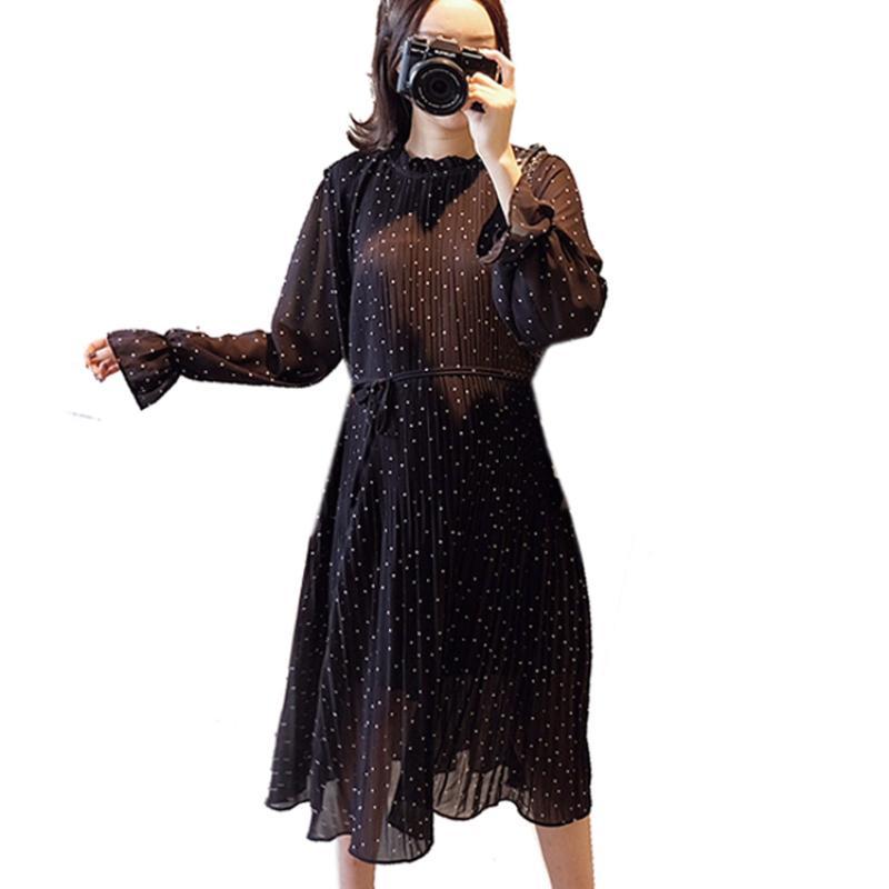 Pregnant Women Pleated Chiffon Midi Long Dresses For Pregnancy Loose  Elegant Party Fashion Polka Dots Dress Clothes 2019 Spring UK 2019 From  Phononame 5690568adb2f