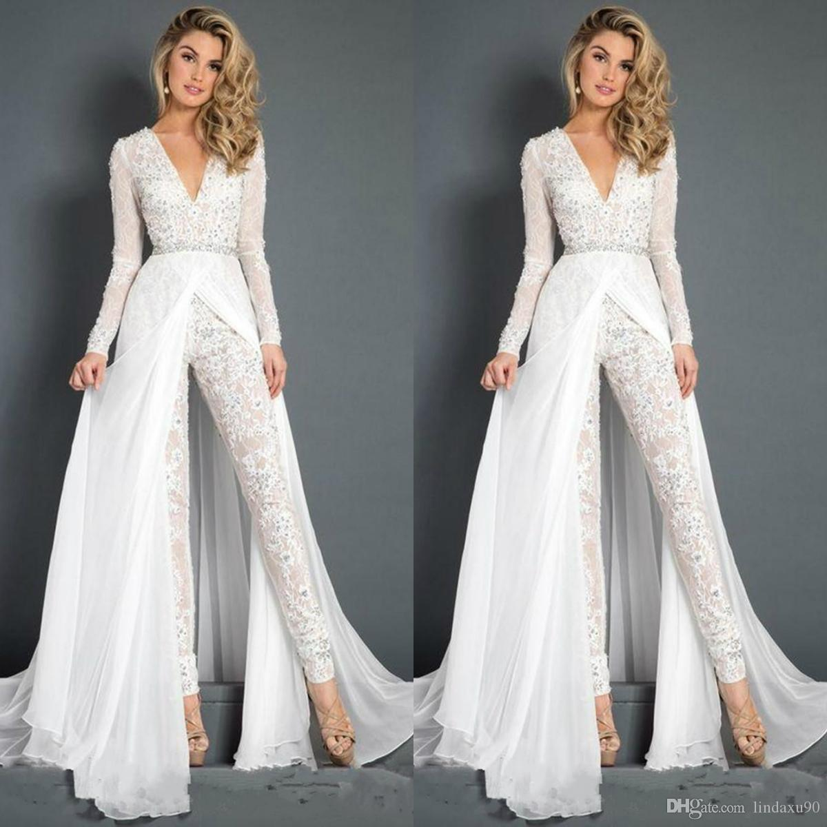 33e6b3fcf14c White Jumpsuits Prom Dresses Beaded Lace Deep V Neck Overskirts Formal  Evening Party Gowns Cheap Long Sleeve Beach Special Occasion Pants Camo Prom  Dress ...