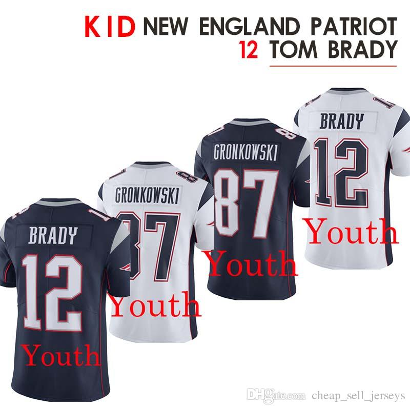 sale retailer 97940 7d1f0 kid jersey 12 Tom Brady jersey 87 Rob Gronkowski Patriot Jerseys 2019 new
