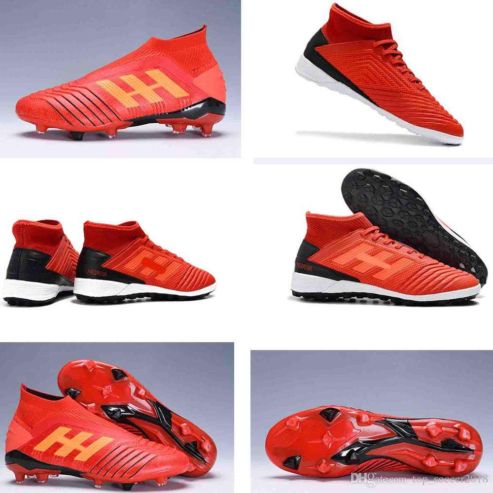 e07ffdf09 2019 New Predator 19+ Predator 19.1 FG PP Paul Pogba Mens Women Kids Youth  Red Soccer Football Shoes 19+x Cleats Boots original Size 36-45