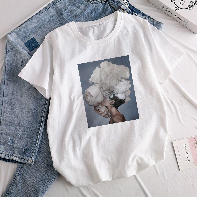 3f9997f8bc34 Aesthetics Sexy Flowers Feather Print Harajuku Tops Tees New Summer Fashion  Retro Kawaii Casual Sweet Lady Short Sleeve T Shirt T Shirt Buy Online  Crazy Tee ...
