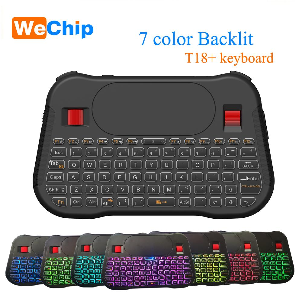 7 Colors Backlit Mini Keyboard 2 4G Wireless Air Mouse with Touchpad Remote  Control Work For Android TV Box Computer T18 Mouse