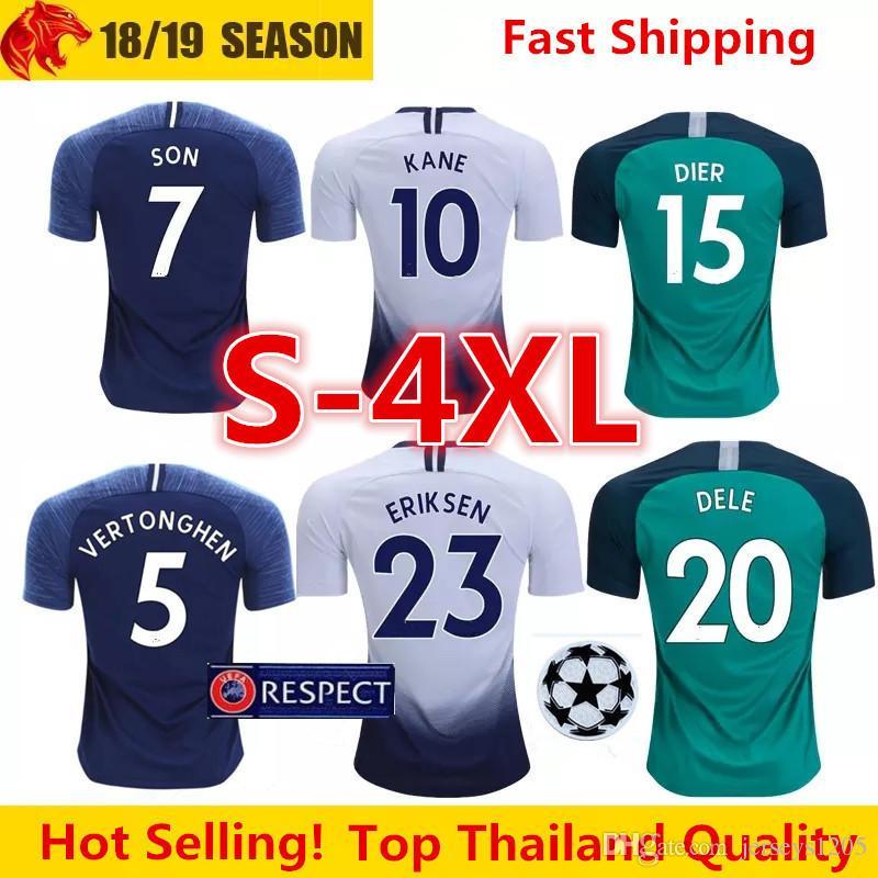 huge selection of 36924 2c1bf Tottenhames Spurs Soccer Jersey Tshirt 2018/19 Kane Home Football Shirt Son  T-shirt Dele Adult Shirts Mens Kids Kit Camiseta Maillot S-4XL