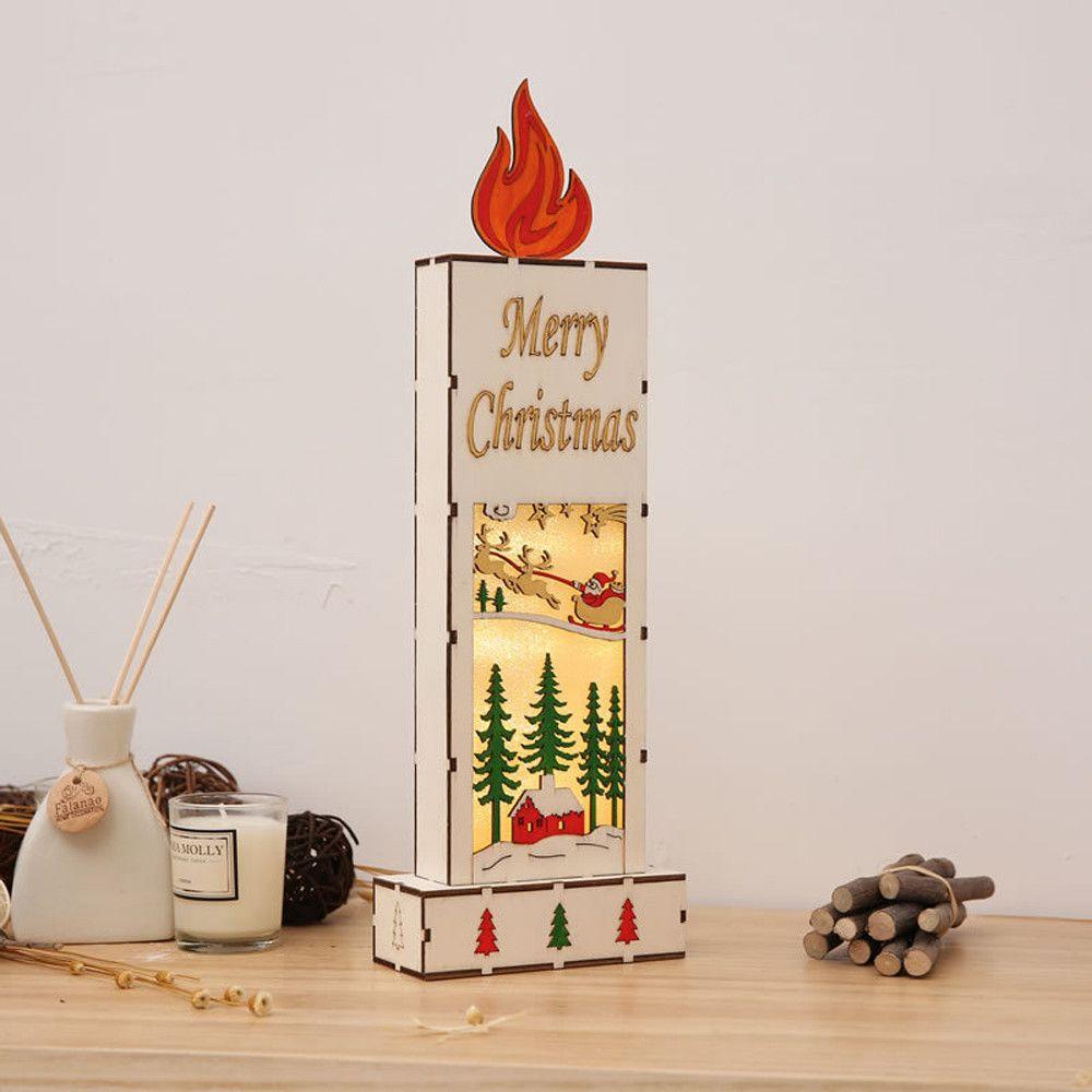 Christmas Decor Ornament Led Lights Deer Cart Luminous Wooden House
