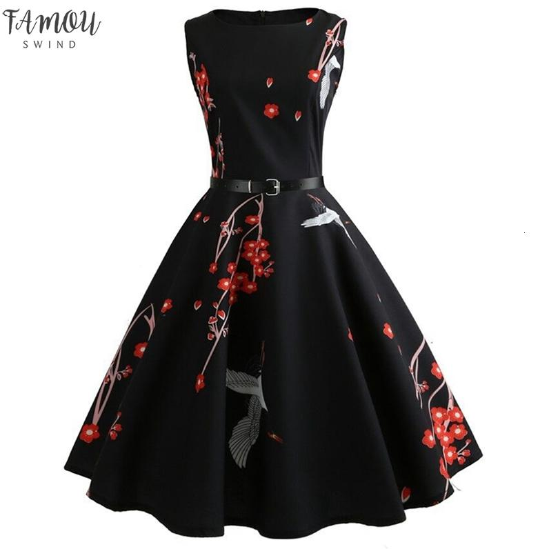 Womens Summer Dresses 2019 Casual Floral Vintage 50s 60s Robe Rockabilly Swing Pinup Vestidos Valentines Day Party Dress designer clothes