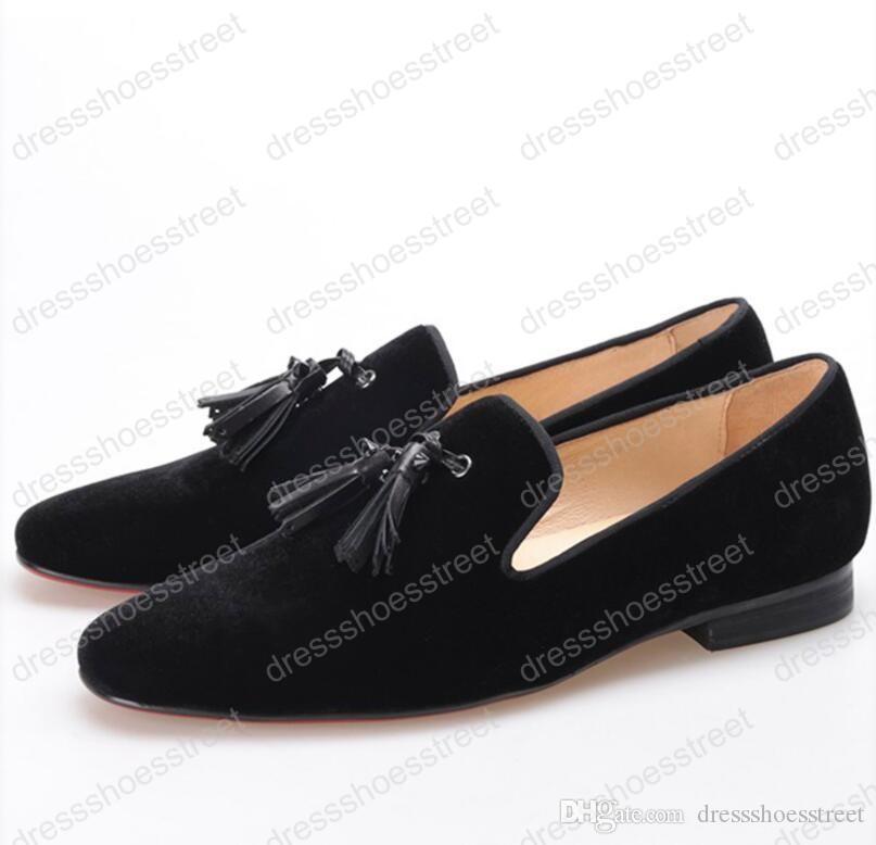 men velvet shoes with new leather rivet tassel Fashion Male Round Toes Driving Shoes Britain smoking slipper Wedding and Banquet Men Loafers