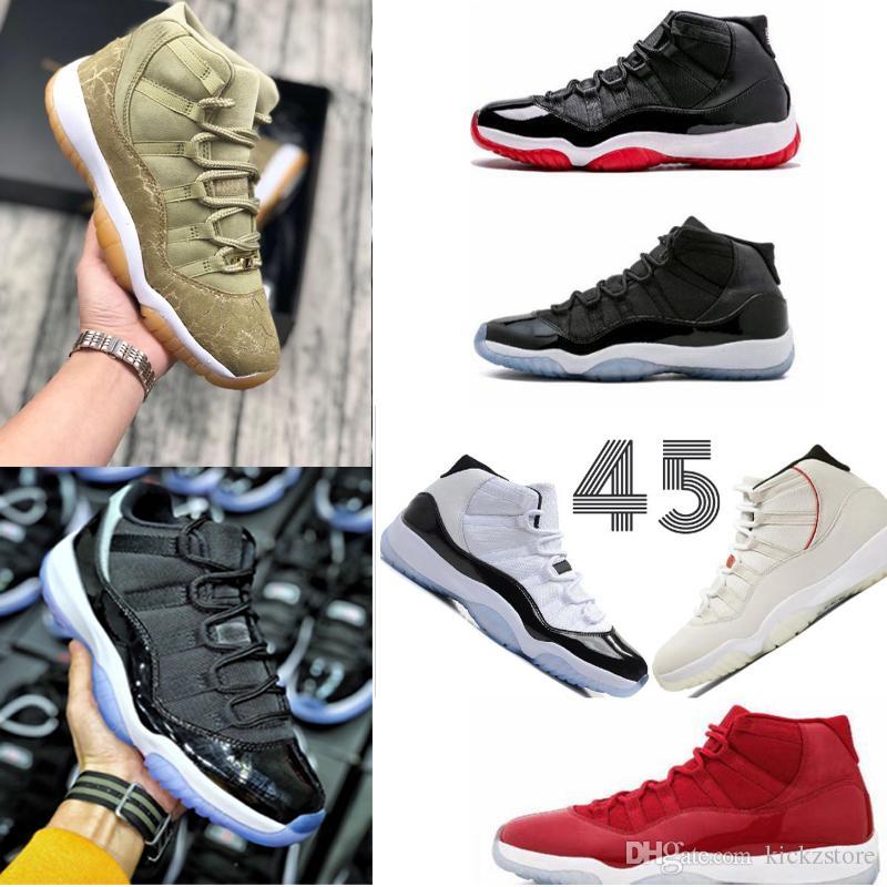 huge selection of 21128 c922a ... Box Chaussures Nike Air Jordan 11 Space Jam Race 45 Nouveaux XI Concord  Chaussures De Basketball Hommes Femmes Chaussures 11s PRM Heiress Gym Olive  Lux ...