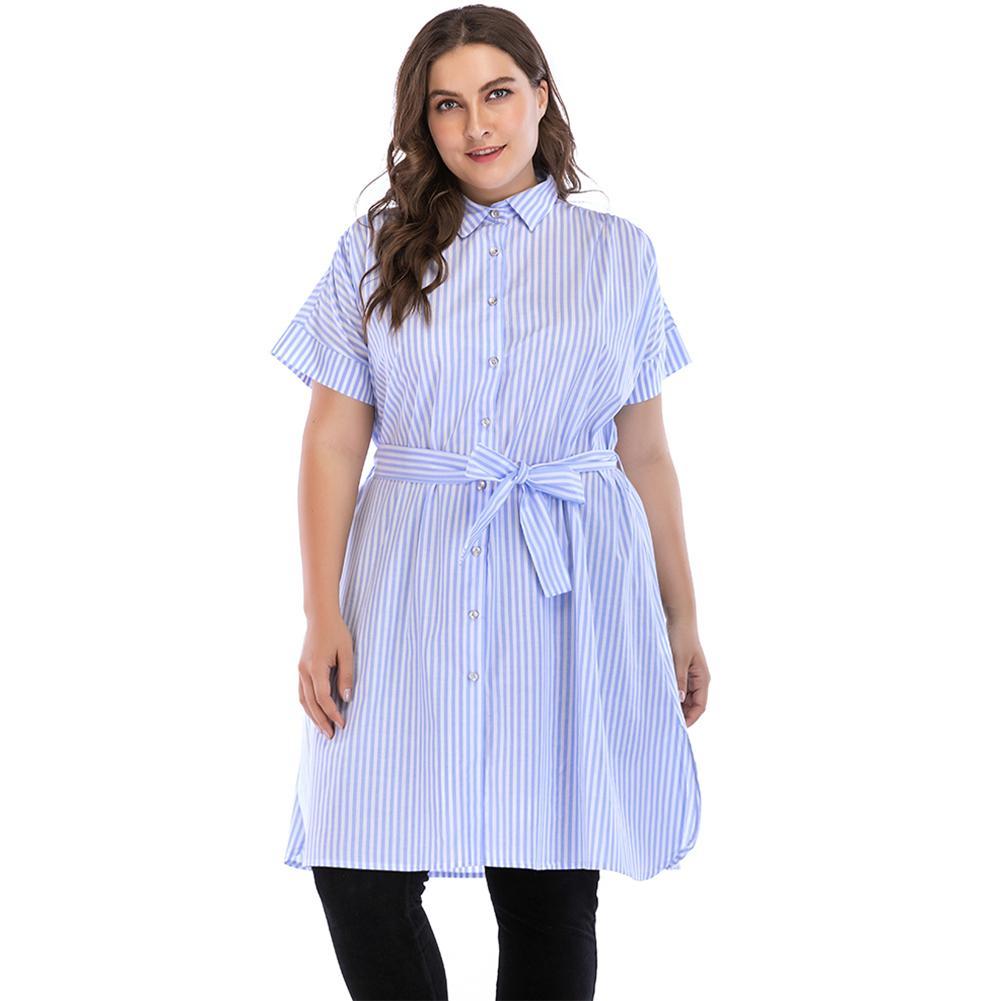 7b80721c53040 Women 5XL Plus Size Dress Blue Stripe Turn Down Collar Short Sleeve Summer Shirt  Dress Button Self Tie Split Side Loose Dress White Dresses For Women Womens  ...