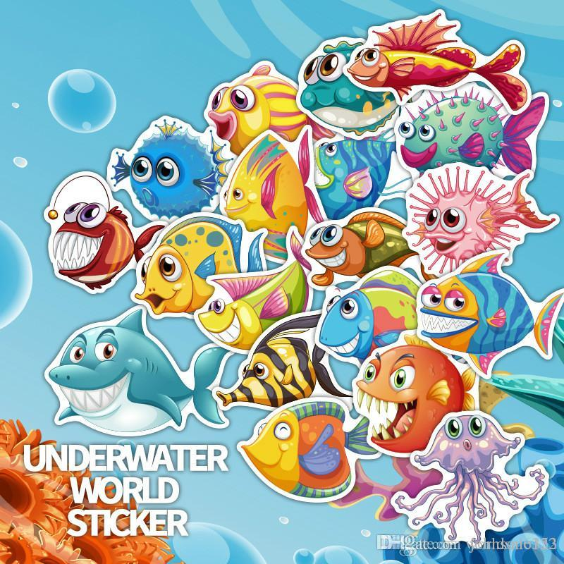 40Pcs Underwater World Cartoon Sea Fishes Stickers for DIY Decal Laptop Bicycle Guitar Skateboard Luggage Motor Car Sticker