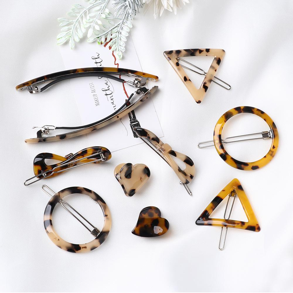 Japan Vintage Amber Acrylic Leopard Hair Clips Geometric Round Triangle Hairpin Heart Shape Barrettes Women Hair Styling Tool