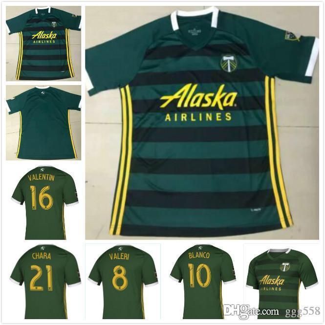 online store 82e4d c87ef MLS 2019 PORTLAND TIMBERS home green Soccer Jerseys PORTLAND TIMBERS Soccer  Shirt Customized #10 BLANCO # 8 VALERI men football uniform