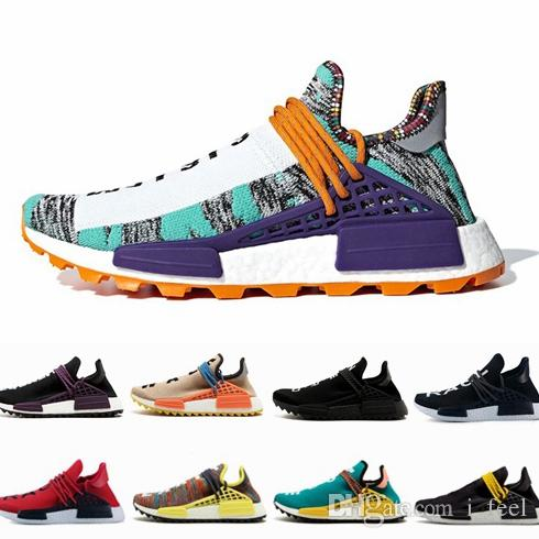 91469a3f68b3c 2018 Creme X NERD Solar Pack White Human Race Men Women Running Shoes  Pharrell Williams Hu Trail Trainers Runner Racer Sports Off Sneakers Best  Running ...