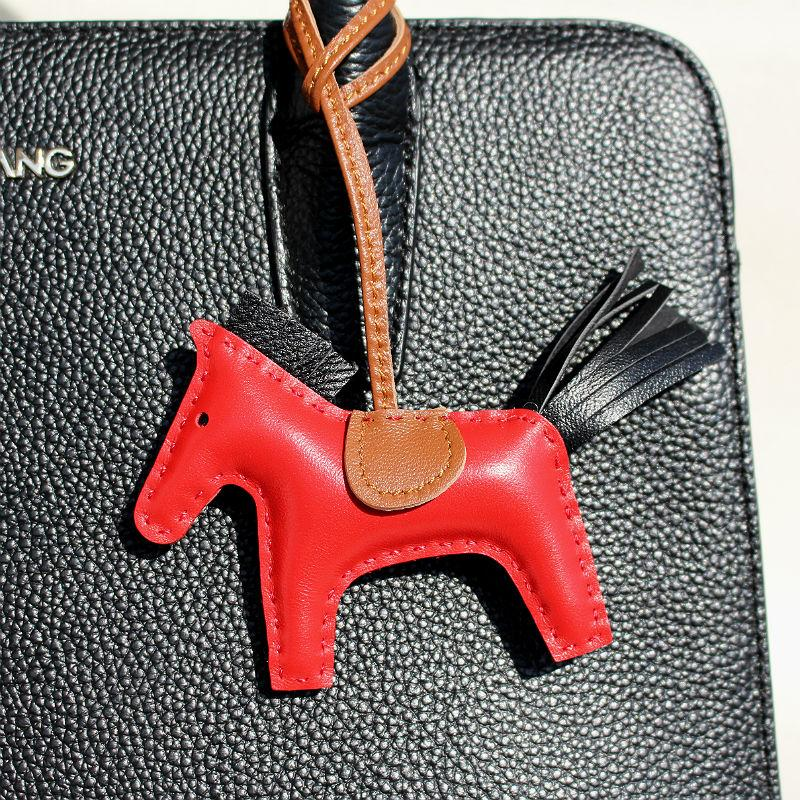 nimal key chain Brand Handmade Sheep Skin Genuine Leather Mini Horse Keychain Pendant For Backpack Animal Key Chain Women Bag Charm Acces...