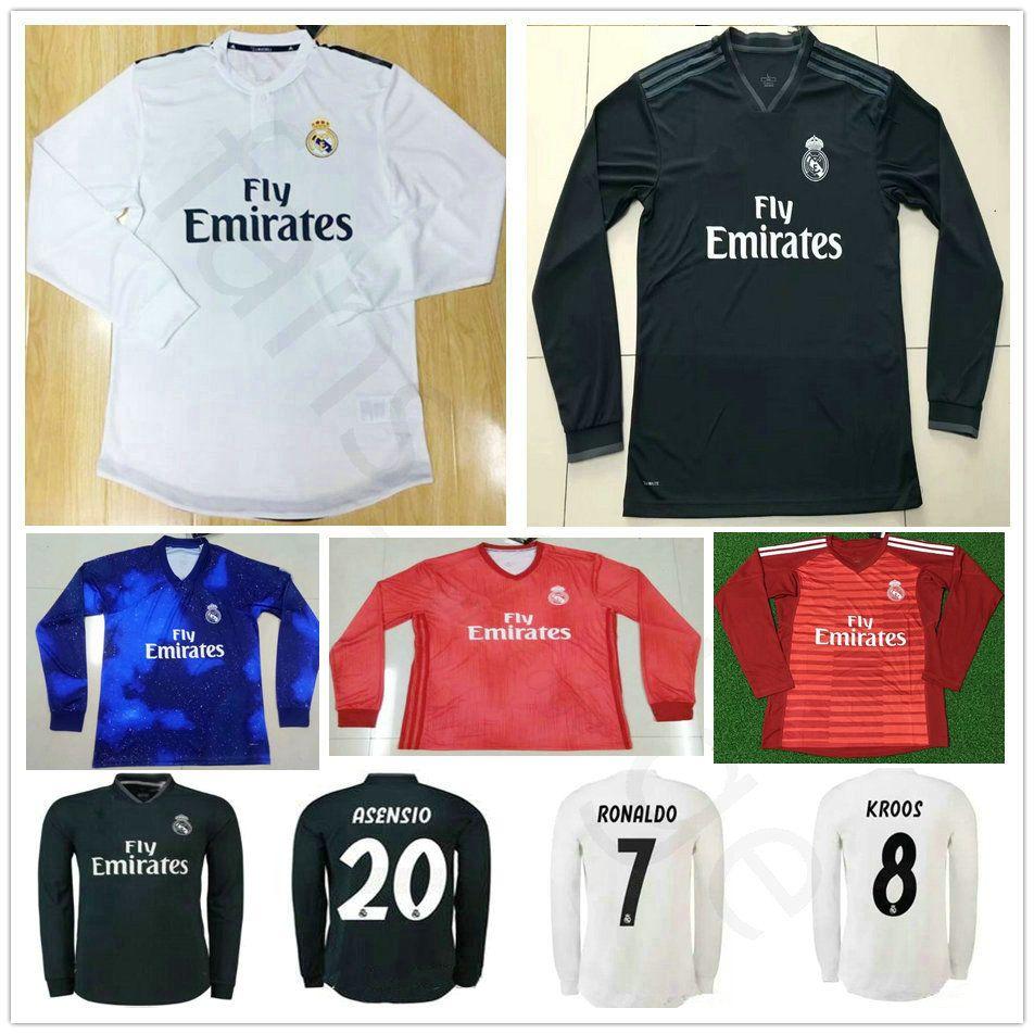 99a748c1211 2019 Custom 18 19 Real Madrid Long Sleeve Soccer Jerseys Sergio Ramos Kroos  Bale Marcelo Asensio Isco 10 Modric 2018 2019 Football Shirt From  Fans edge