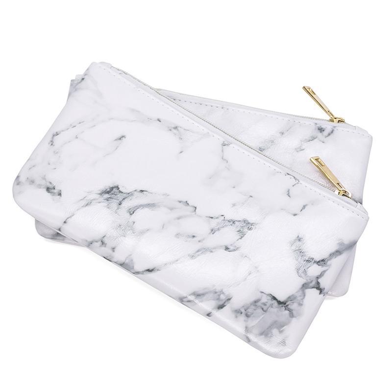 7a8b1115da5d 2018 Fashion Marble PU Leather Cosmetic Bag Organize Zipper Storage Bag  Portable Ladies Travel Square Makeup Brushes