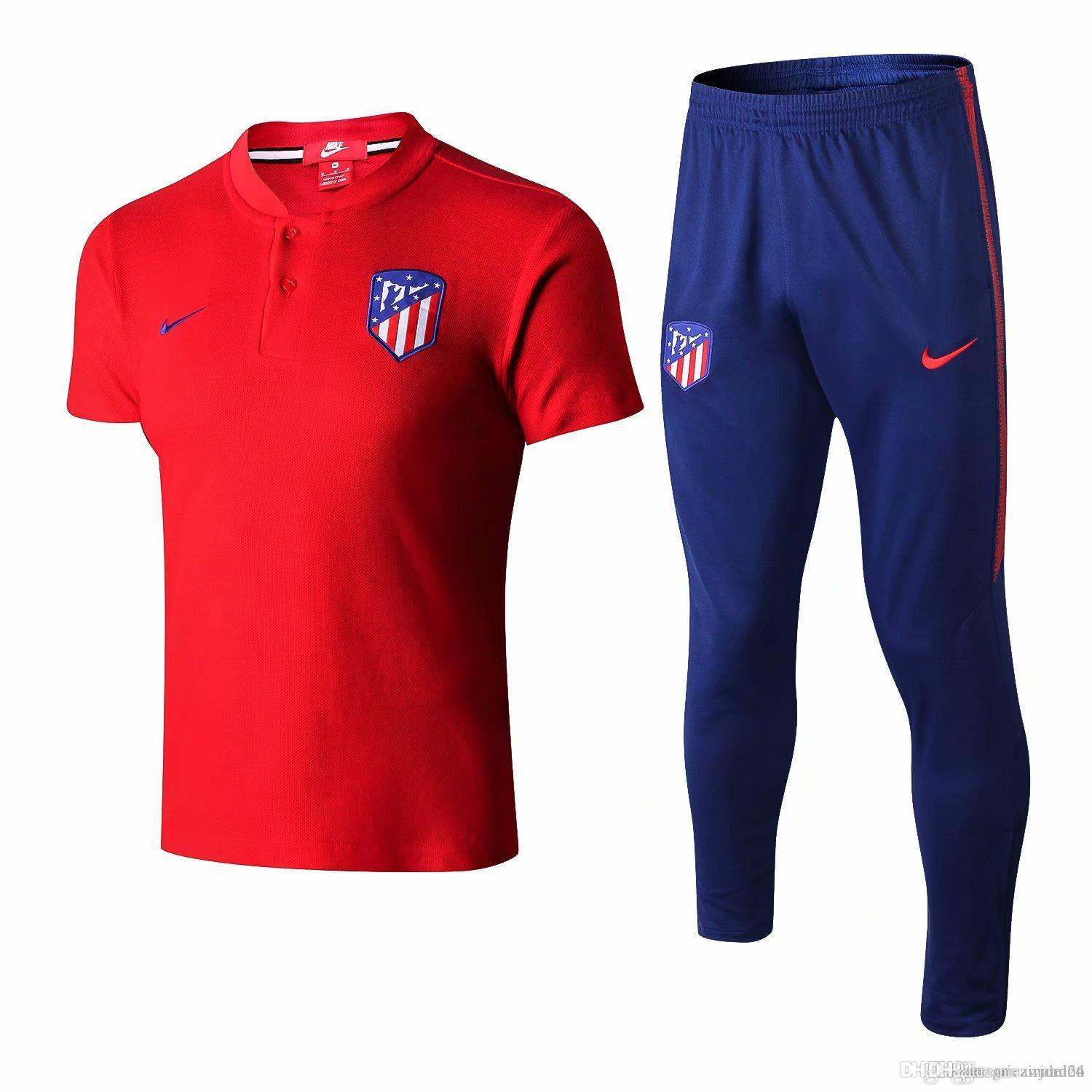 6843abe0b 2019 New 18 19 Atletico Madrid Polo Shirts Costa Hernandez Tracksuits 2019  Atletico Home Away Soccer Wear Griezmann Short Sleeve Training Suits From  ...